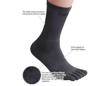 HASLRA Hiking Five Finger Toe Socks